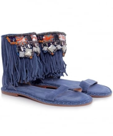 Fringed Beaded Sandals