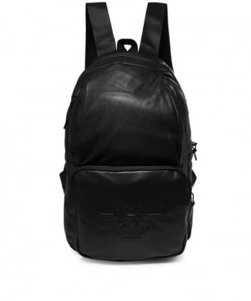 Faux Leather Logo Backpack