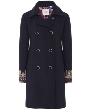 Embroidered Cuff Coat