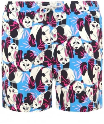 Mid Length Arthur Blue Panda Swim Shorts