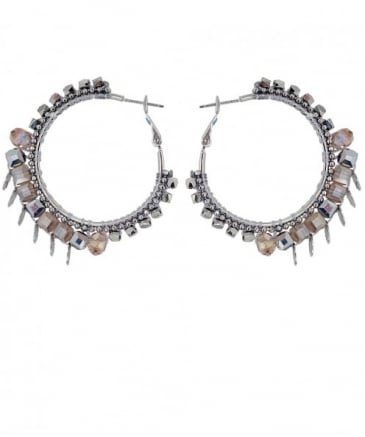 Beaded Sloane Square Hoop Earrings