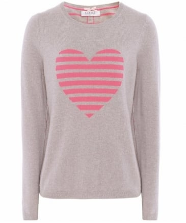 Cashmere Striped Back Heart Jumper