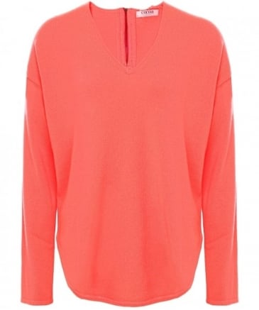 Cashmere V-Neck Zip Detail Jumper