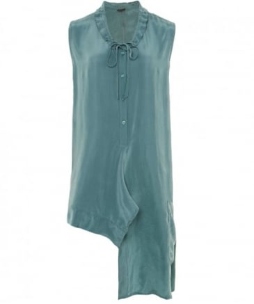 Cupro Asymmetric Tunic Top