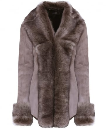 Roll Collar Shearling Jacket
