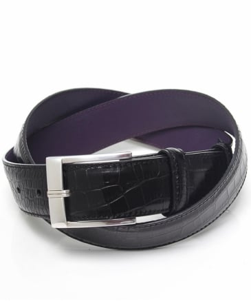 High-Shine Mock Croc Leather Belt