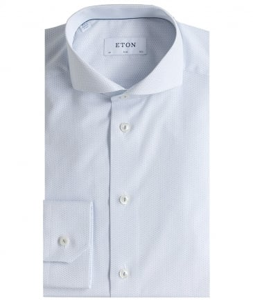 Slim Fit Micro Pattern Poplin Shirt