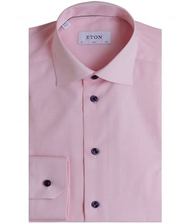 Slim Fit Patterned Poplin Shirt