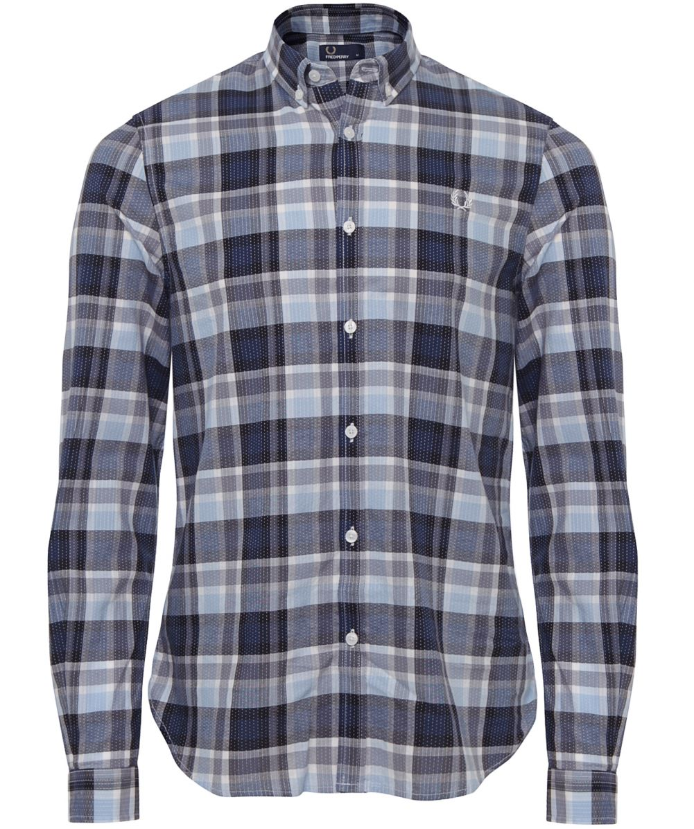 Fred perry navy slim fit dot check shirt abrufbar unter for Slim fit check shirt