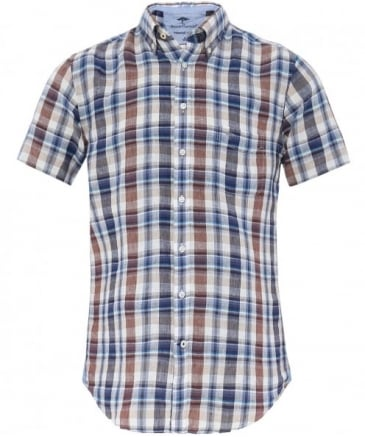 Linen Short Sleeve Check Shirt