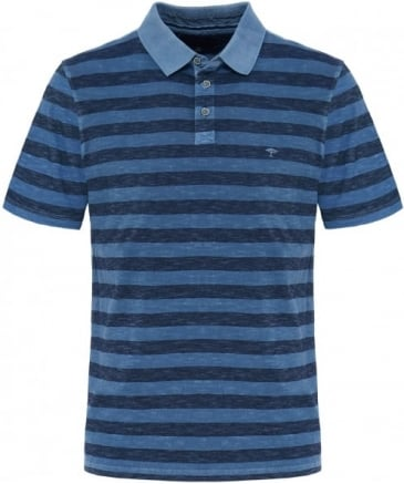 Slub Jersey Block Stripe Polo Shirt