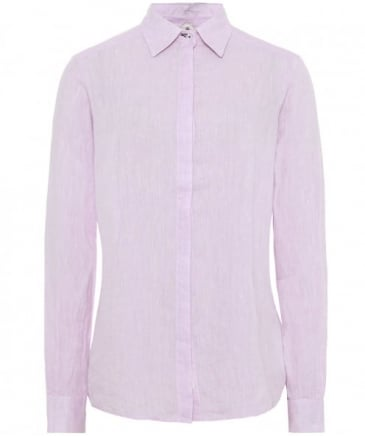 Embroidered Undercollar Linen Shirt