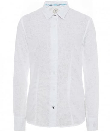 Embroidered Undercollar Print Shirt