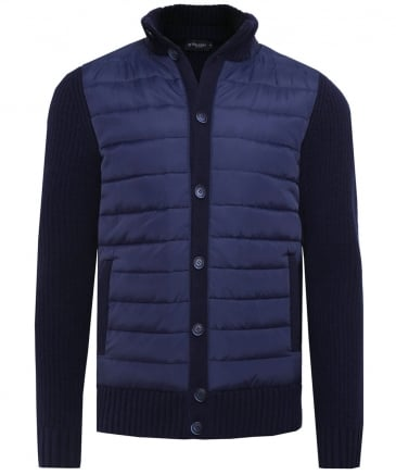 Quilted & Knitted Button-Through Jacket