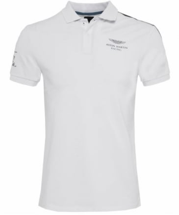 Slim Fit Aston Martin Racing Shoulder Stripe Polo Shirt