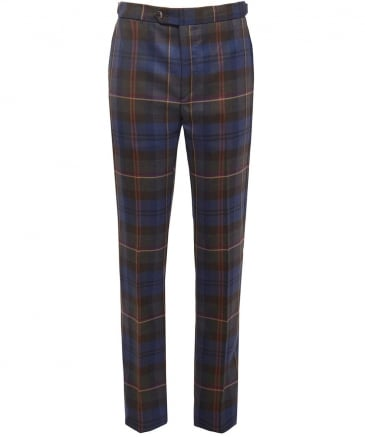 Slim Fit Wool Tartan Trousers