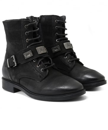 Burnished Leather Facula Buckle Boots