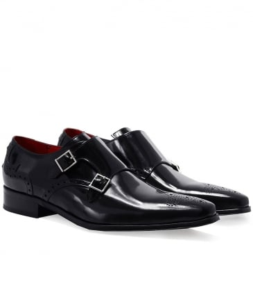 Patent Leather Double Monk Strap Shoes