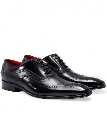 Leather Wing-Tip Oxford Shoes