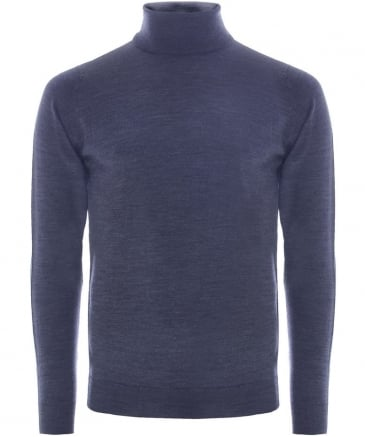 Slim Fit Merino Wool Roll Neck Belvoir Jumper