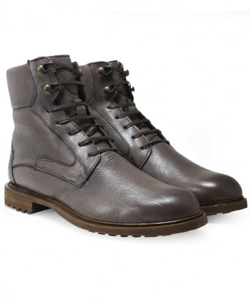 Buffalo Leather Lace-Up Boots