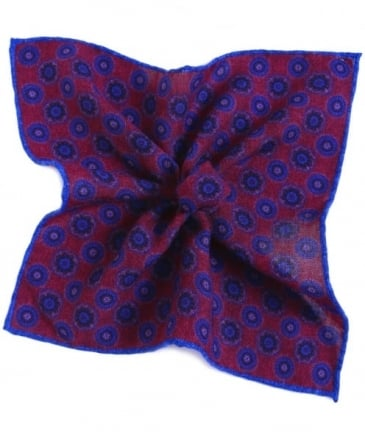 Geometric Floral Wool Pocket Square