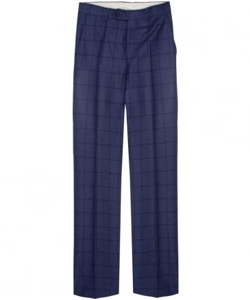 Overcheck Twill Wool Trousers