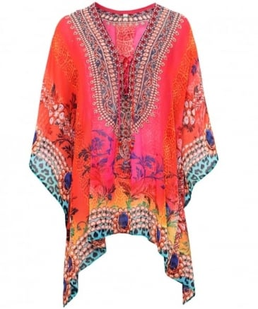 Drawstring V-Neck Short Kaftan