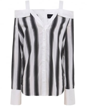 Stripe Off Shoulder Shirt