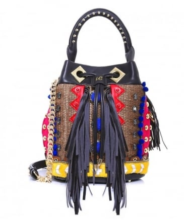 Leather Jungle Studded Bucket Bag