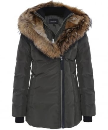 Akiva Mid Length Fur Trim Jacket