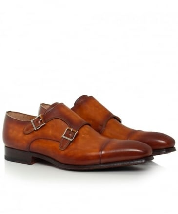 Burnished Leather Double Monk Strap Shoes