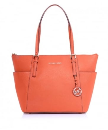 Leather Jet Set Top Zip Tote Bag
