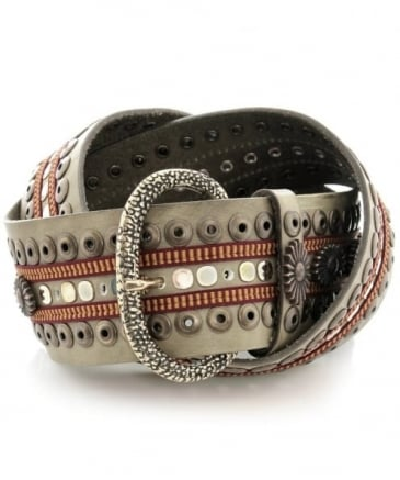 Trimmed Studded Leather Belt