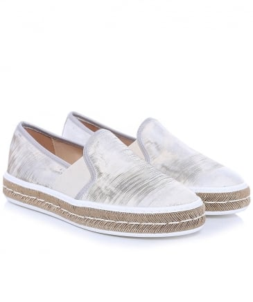 Metallic Platform Slip On Trainers