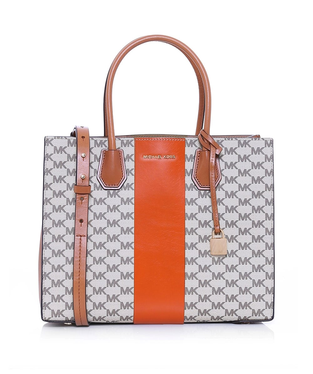 d69fd45004a15 MICHAEL Michael Kors Orange Mercer Streifen Heritage Tote Bag