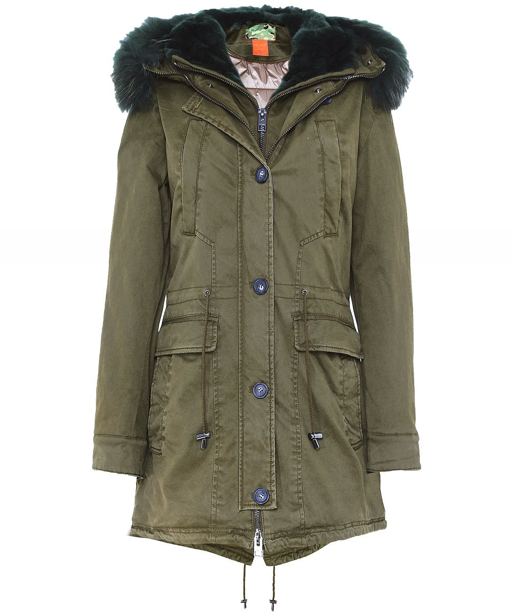 official photos d94bb 54da2 Saphir Luxe langes Fell Trimmen parka