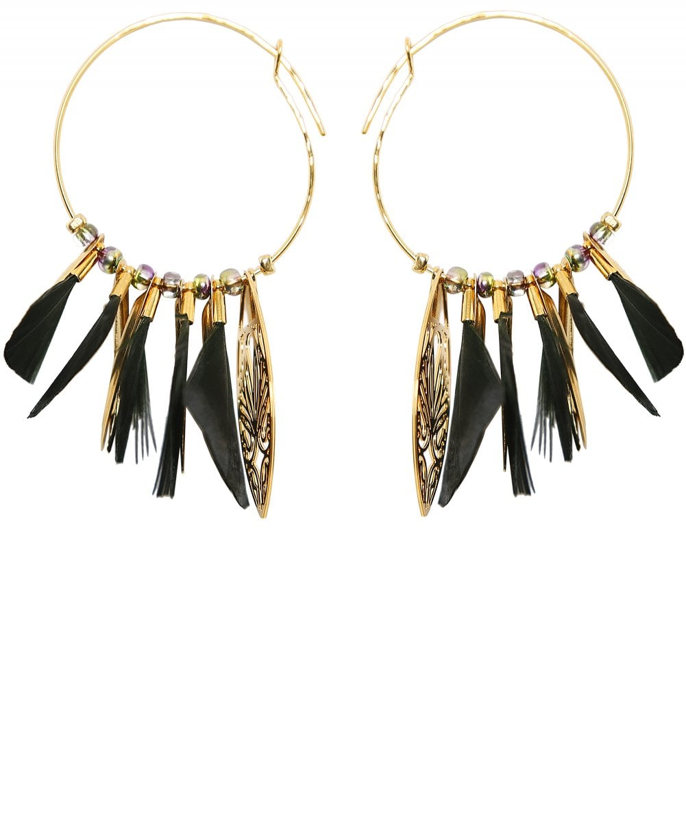 Gas Bijoux Green Marly Feather Hoop Ohrringe Jules B