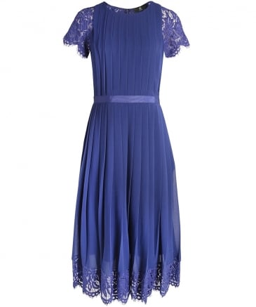 Pleated Lace Cocktail Dress