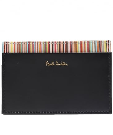 Smooth Leather Signature Stripe Card Holder