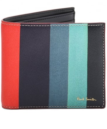 Striped Saffiano Leather Billfold Wallet