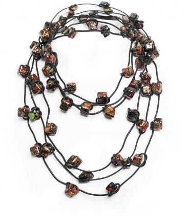 Three Strand Ceramic Bead Necklace