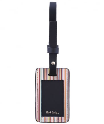 Leather Striped Luggage Tag
