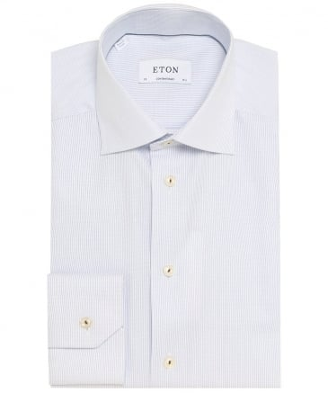 Contemporary Fit Pinstripe Twill Shirt