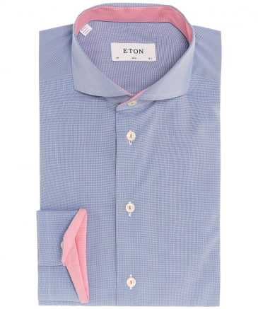 Slim Fit Micro Houndstooth Poplin Shirt