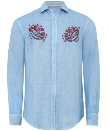Slim Fit Linen Paisley Embroidered Shirt