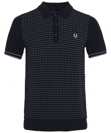 Jacquard Knitted Cotton Polo Shirt