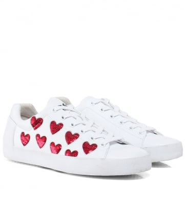 Leather Nikita Sequin Heart Trainers