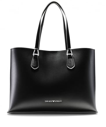 Faux Leather Contrast Trim Tote Bag