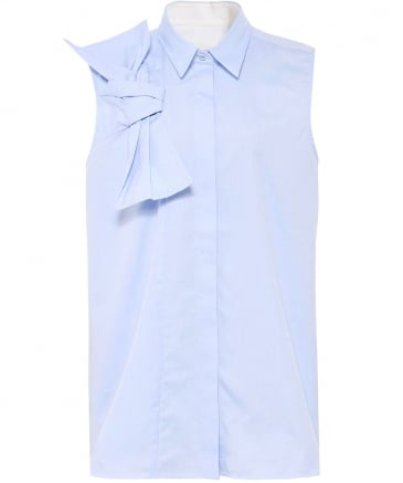 Sleeveless Cotton Bow Shirt